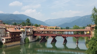 After leaving Asolo, we made our way to Bassano to view a bridge design by Palladio. The Bridge of the Alpini, designed by Palladio in 1569, was rebuilt after WW ll. Crossing the Brenta River, there has been a bridge at this site since the 13th century.